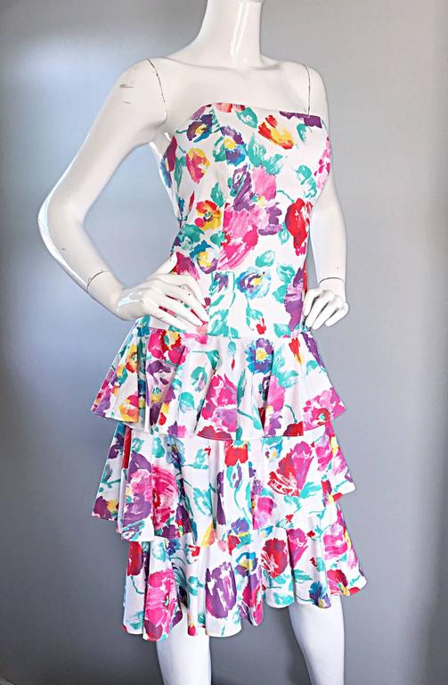 Fantastic 1980s Vintage 80s Hand Painted Strapless Floral Dress & Cropped Bolero 4