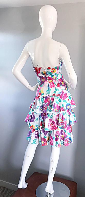 Fantastic 1980s Vintage 80s Hand Painted Strapless Floral Dress & Cropped Bolero 5