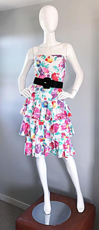 Fantastic 1980s Vintage 80s Hand Painted Strapless Floral Dress & Cropped Bolero 6