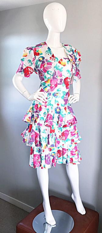 Fantastic 1980s Vintage 80s Hand Painted Strapless Floral Dress & Cropped Bolero 7
