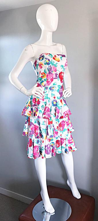 Fantastic 1980s Vintage 80s Hand Painted Strapless Floral Dress & Cropped Bolero 9