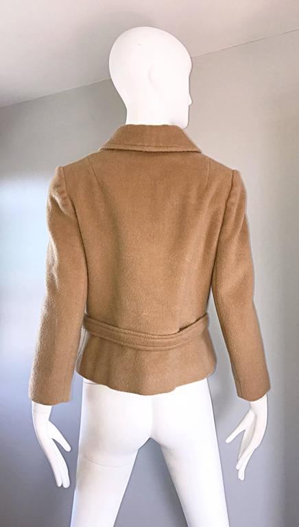 Chic 1960s Saks 5th Avenue Camel 60s Vintage Virgin Mod Wool Cropped Jacket  4