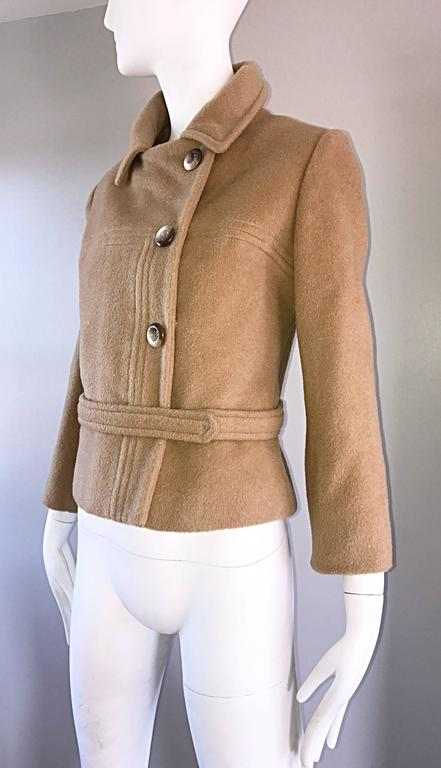 Chic 1960s Saks 5th Avenue Camel 60s Vintage Virgin Mod Wool Cropped Jacket  7