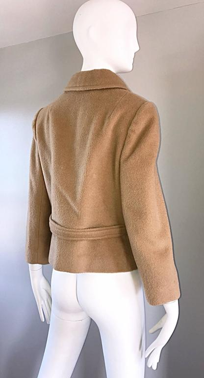 Chic 1960s Saks 5th Avenue Camel 60s Vintage Virgin Mod Wool Cropped Jacket  6