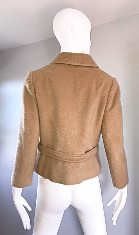 Chic 1960s Saks 5th Avenue Camel 60s Vintage Virgin Mod Wool Cropped Jacket  8