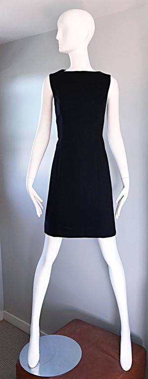 Vintage Giorgio Armani Collezioni 1990s Does 1960s Mod Wool Sz 6 90s Black Dress 2