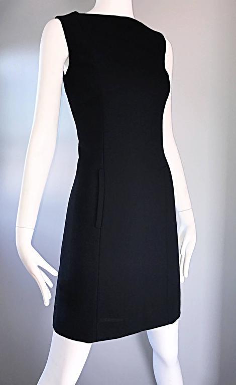 Vintage Giorgio Armani Collezioni 1990s Does 1960s Mod Wool Sz 6 90s Black Dress 3