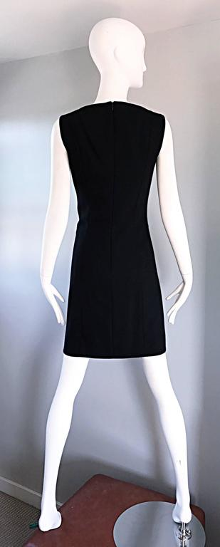 Vintage Giorgio Armani Collezioni 1990s Does 1960s Mod Wool Sz 6 90s Black Dress 4