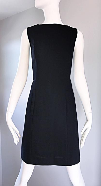 Vintage Giorgio Armani Collezioni 1990s Does 1960s Mod Wool Sz 6 90s Black Dress 5