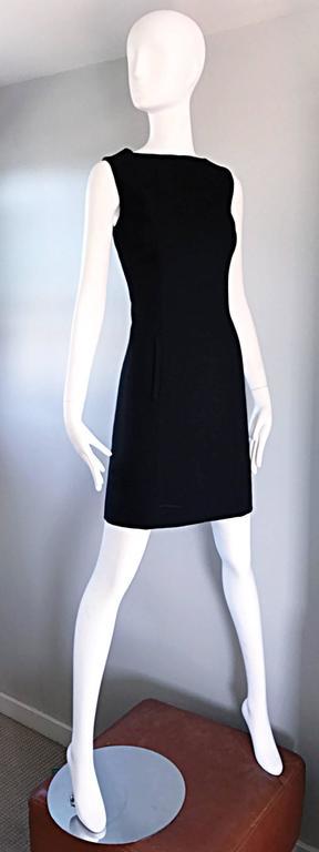 Vintage Giorgio Armani Collezioni 1990s Does 1960s Mod Wool Sz 6 90s Black Dress 6