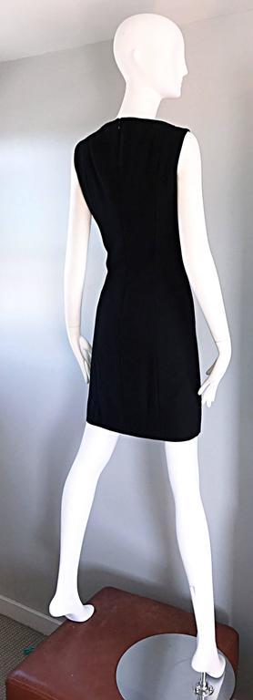 Vintage Giorgio Armani Collezioni 1990s Does 1960s Mod Wool Sz 6 90s Black Dress 7