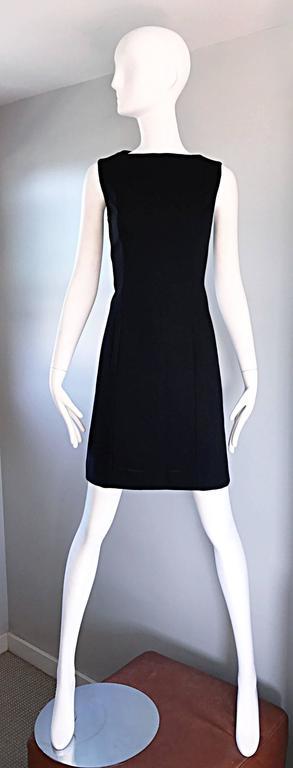 Vintage Giorgio Armani Collezioni 1990s Does 1960s Mod Wool Sz 6 90s Black Dress 8
