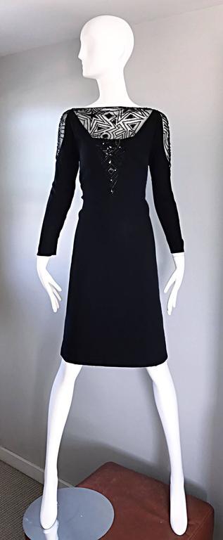 Vintage Bob Mackie Sz 10 12 Black Nude Illusion Sequin Beaded Little Black Dress 2