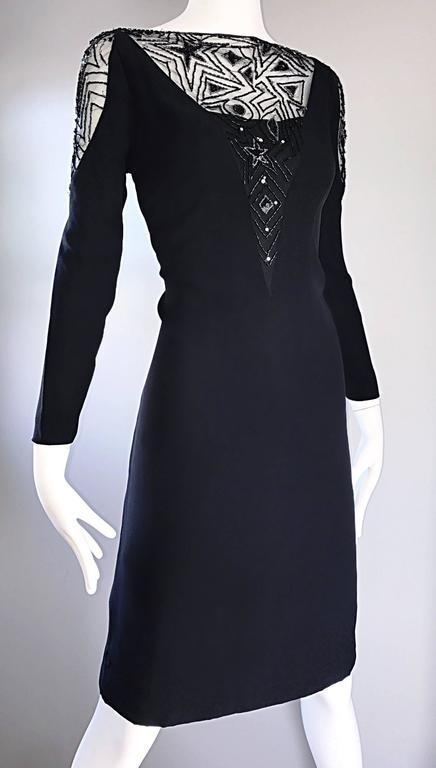 Vintage Bob Mackie Sz 10 12 Black Nude Illusion Sequin Beaded Little Black Dress 3