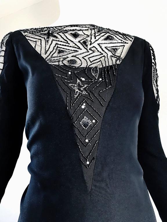 Vintage Bob Mackie Sz 10 12 Black Nude Illusion Sequin Beaded Little Black Dress 4