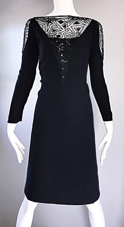 Vintage Bob Mackie Sz 10 12 Black Nude Illusion Sequin Beaded Little Black Dress 6