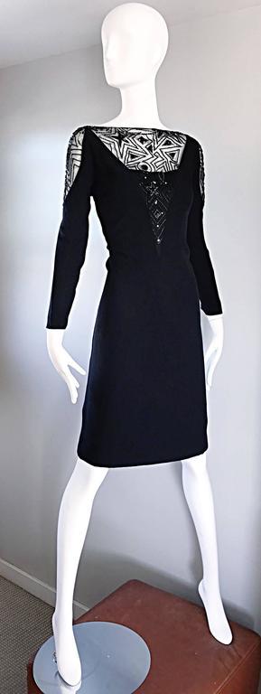 Vintage Bob Mackie Sz 10 12 Black Nude Illusion Sequin Beaded Little Black Dress 7