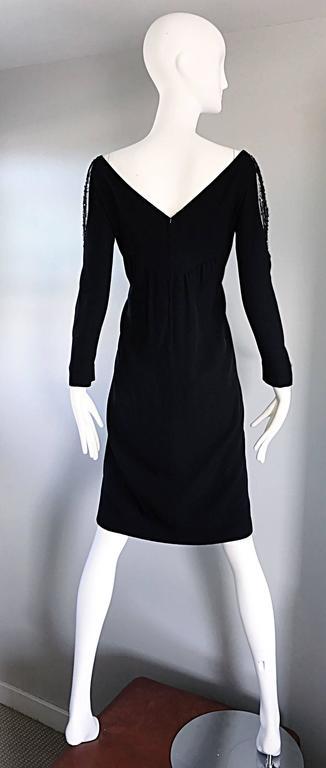 Vintage Bob Mackie Sz 10 12 Black Nude Illusion Sequin Beaded Little Black Dress 8