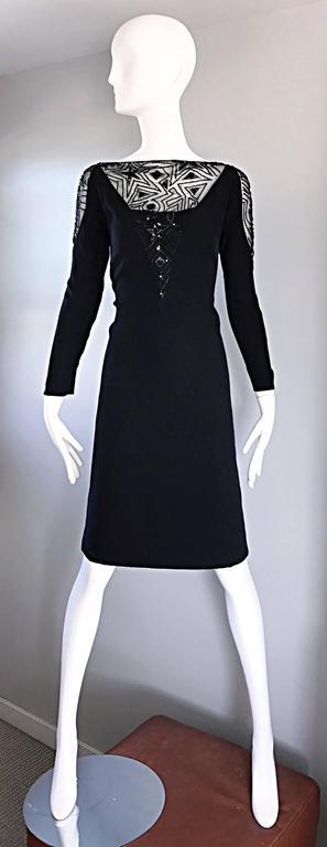 Vintage Bob Mackie Sz 10 12 Black Nude Illusion Sequin Beaded Little Black Dress 9