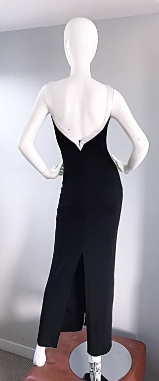 Women s 1990s Dolce And Gabbana Vintage Black and White Iconic Jersey Dress  Gown Dress For Sale dc1552a60