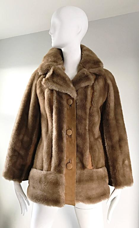 Chic 1960s Lilli Ann Light Brown Faux Fur And Suede Leather Vintage Swing Coat 2