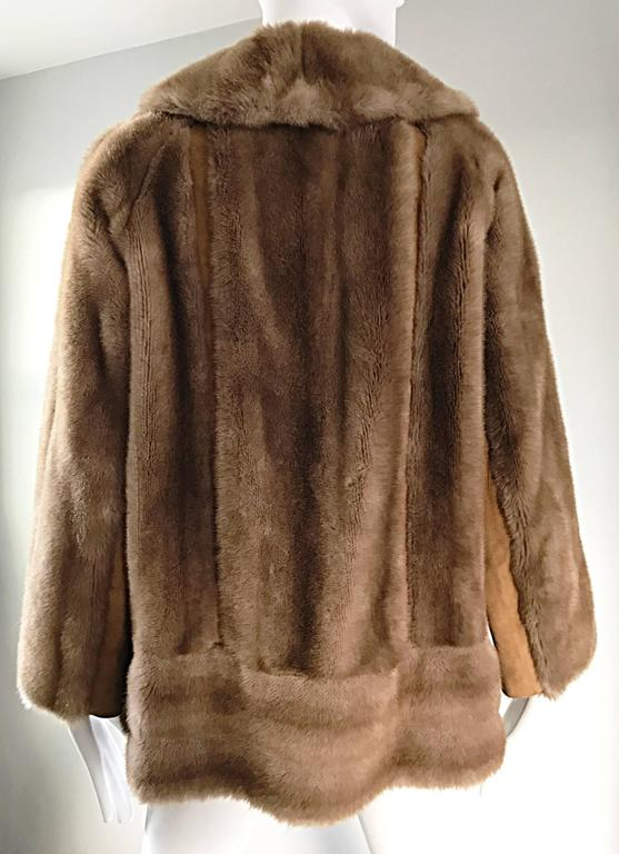 Chic 1960s Lilli Ann Light Brown Faux Fur And Suede Leather Vintage Swing Coat 4