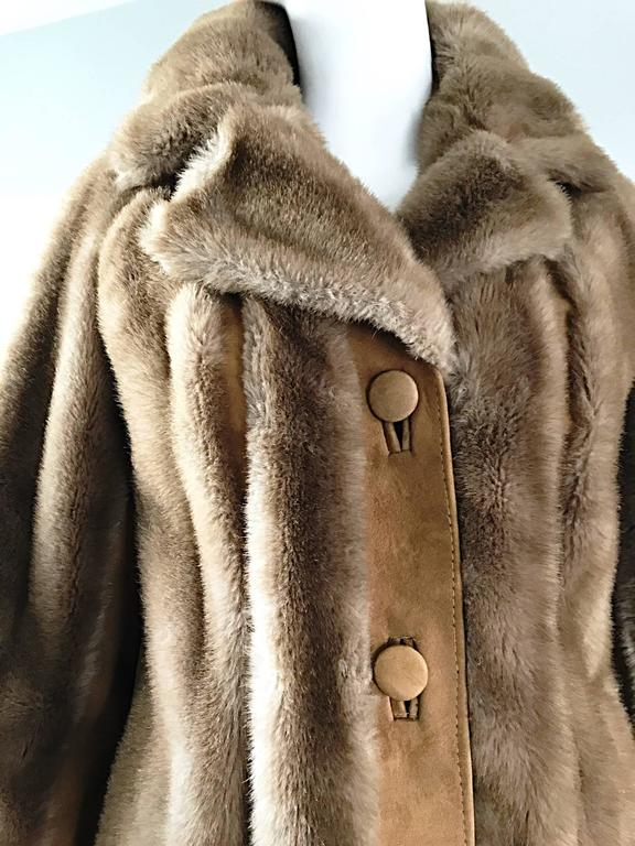 Chic 1960s Lilli Ann Light Brown Faux Fur And Suede Leather Vintage Swing Coat 5