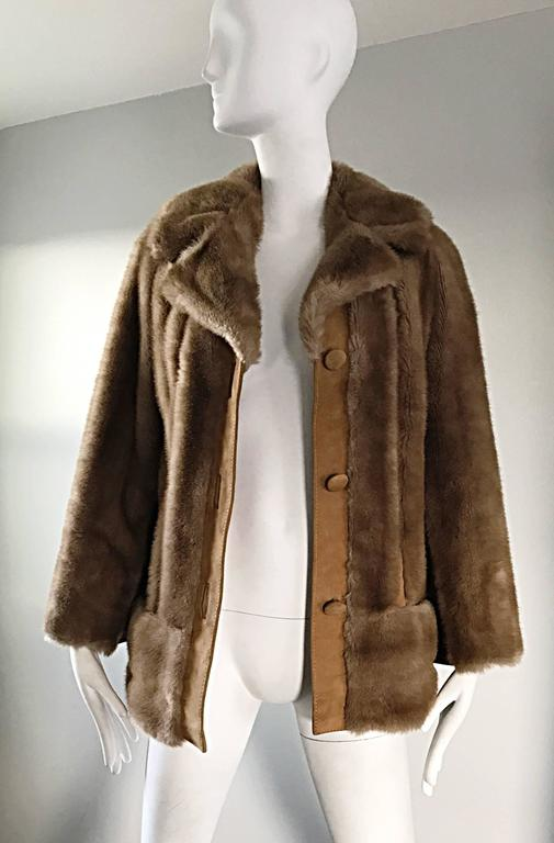 Chic 1960s Lilli Ann Light Brown Faux Fur And Suede Leather Vintage Swing Coat 6