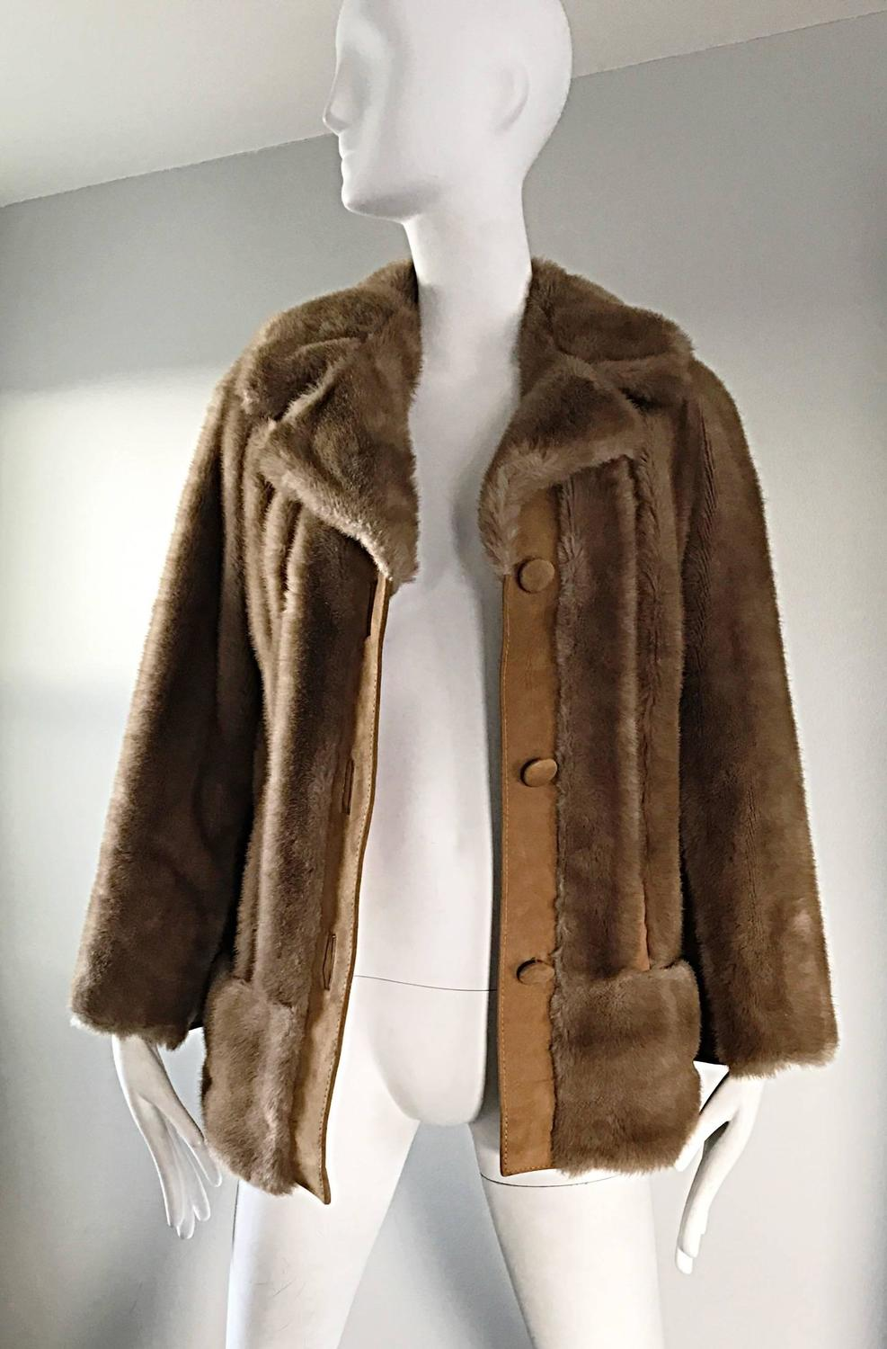 Chic 1960s Lilli Ann Light Brown Faux Fur And Suede
