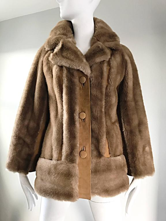 Chic 1960s Lilli Ann Light Brown Faux Fur And Suede Leather Vintage Swing Coat 7