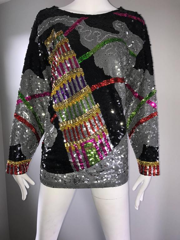 Amazing Vintage ' Leaning Tower of Pisa ' Fully Sequined Long Sleeve Top Blouse For Sale 2