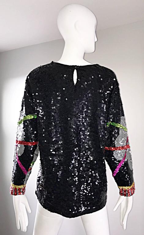 Amazing Vintage ' Leaning Tower of Pisa ' Fully Sequined Long Sleeve Top Blouse In Excellent Condition For Sale In San Francisco, CA