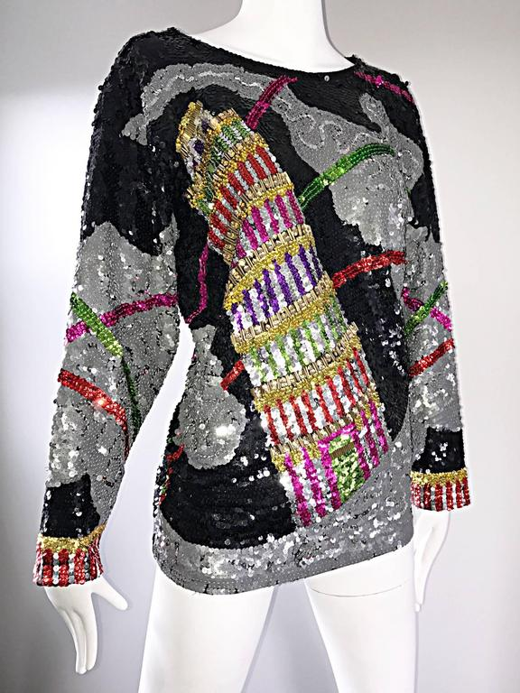 Women's Amazing Vintage ' Leaning Tower of Pisa ' Fully Sequined Long Sleeve Top Blouse For Sale