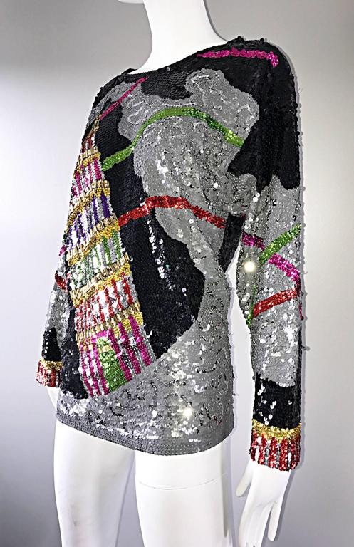 Amazing Vintage ' Leaning Tower of Pisa ' Fully Sequined Long Sleeve Top Blouse For Sale 1