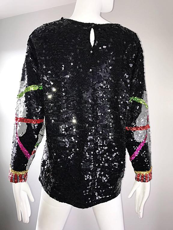 Amazing Vintage ' Leaning Tower of Pisa ' Fully Sequined Long Sleeve Top Blouse For Sale 3