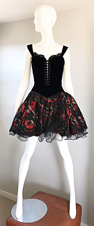 Vintage Vicky Tiel Couture Fabulous Red Plaid Corset Holiday Taffeta Lace Dress 2