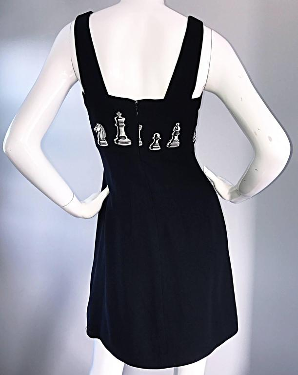 1990s Nicole Miller Vintage Black and White ' Chess ' Embroidered Black Dress 4 For Sale 4