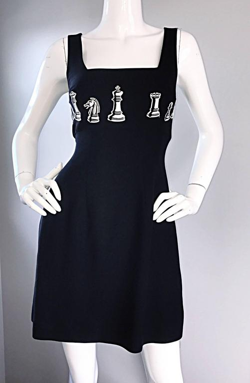 1990s Nicole Miller Vintage Black and White ' Chess ' Embroidered Black Dress 4 For Sale 3