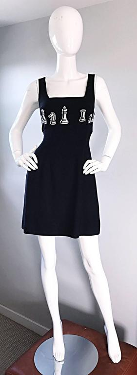 1990s Nicole Miller Vintage Black and White ' Chess ' Embroidered Black Dress 4 For Sale 5