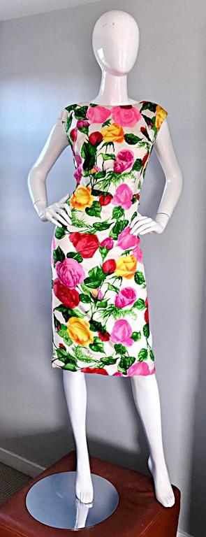 Gorgeous 1950s I Magnin Demi Couture Silk Rose Flower 50s 60s Vintage Dress 2