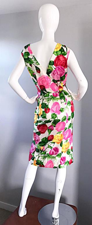 Gorgeous 1950s I Magnin Demi Couture Silk Rose Flower 50s 60s Vintage Dress 3