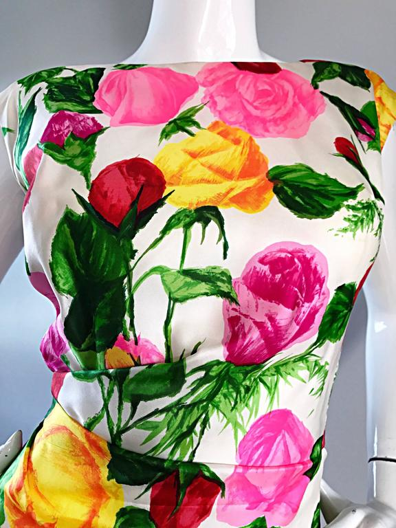 Gorgeous 1950s I Magnin Demi Couture Silk Rose Flower 50s 60s Vintage Dress 4