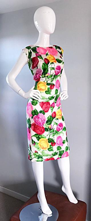 Gorgeous 1950s I Magnin Demi Couture Silk Rose Flower 50s 60s Vintage Dress 6