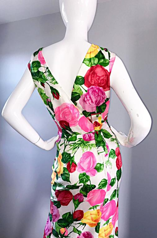 Gorgeous 1950s I Magnin Demi Couture Silk Rose Flower 50s 60s Vintage Dress 5