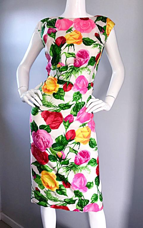Gorgeous 1950s I Magnin Demi Couture Silk Rose Flower 50s 60s Vintage Dress 7