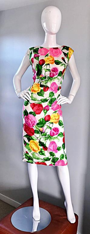 Gorgeous 1950s I Magnin Demi Couture Silk Rose Flower 50s 60s Vintage Dress 9