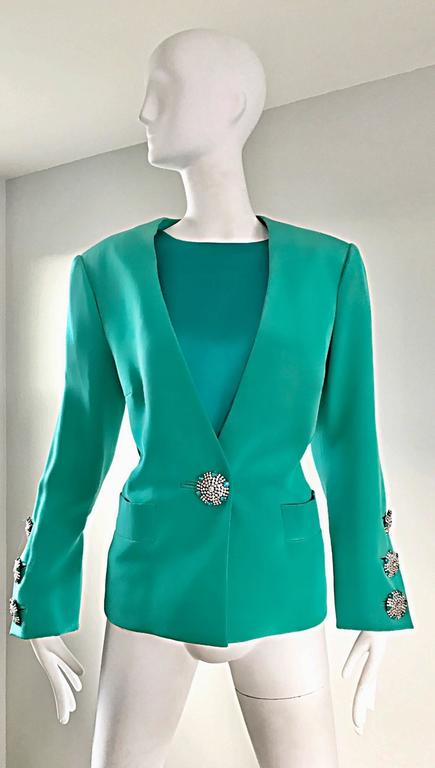 Vintage Yves Saint Laurent Haute Couture Kelly Green Silk Jacket and Shell Set 2