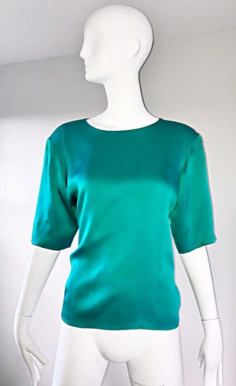 Vintage Yves Saint Laurent Haute Couture Kelly Green Silk Jacket and Shell Set 4