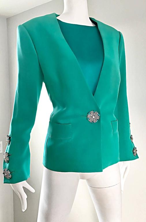 Vintage Yves Saint Laurent Haute Couture Kelly Green Silk Jacket and Shell Set 5