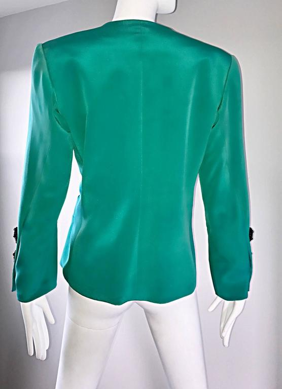 Vintage Yves Saint Laurent Haute Couture Kelly Green Silk Jacket and Shell Set 7